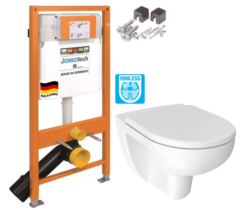 JOMO DUO modul pro závěsné WC bez desky + WC JIKA LYRA PLUS RIMLESS + SEDÁTKO DURAPLAST 174-91100700