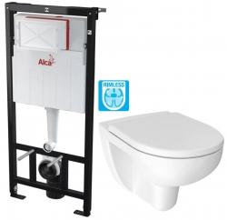 ALCAPLAST  Sádromodul - předstěnový instalační systém bez tlačítka + WC JIKA LYRA PLUS RIMLESS + SEDÁTKO DURAPLAST (AM101/1120 X LY1)