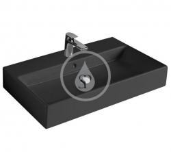 VILLEROY & BOCH - Memento Umyvadlo 800x470 mm, s přepadem, otvor pro baterii, CeramicPlus, Glossy Black (513385S0)