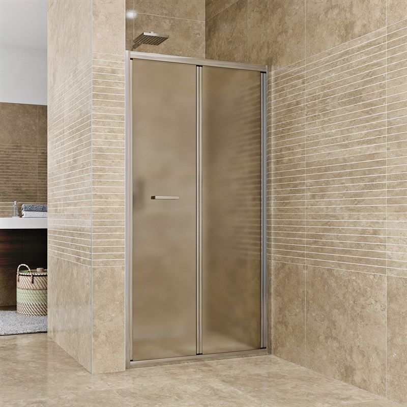 MEREO Sprchové dveře zalamovací, Mistica, 90x190 cm, chrom ALU, sklo Chinchilla CK80124H