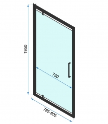 REA/S - SPRCHOVÝ KOUT RAPID SWING dveře 80 / stěna 90 - černé (RAP-SW/080090), fotografie 6/5