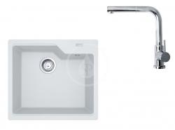 FRANKE - Sety Set G177, fragranitový dřez UBG 610-56 a baterie FN 0147.031, bílá-led/chrom (114.0619.619)