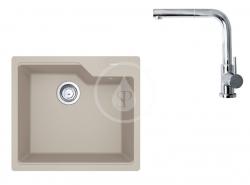 FRANKE - Sety Set G177, fragranitový dřez UBG 610-56 a baterie FN 0147.031, sahara/chrom (114.0619.622)