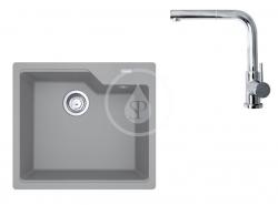 FRANKE - Sety Set G177, fragranitový dřez UBG 610-56 a baterie FN 0147.031, šedý kámen/chrom (114.0619.623)