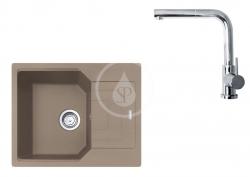 FRANKE - Sety Set G181, fragranitový dřez UBG 611-62 a baterie FN 0147.031, kašmír/chrom (114.0619.654)