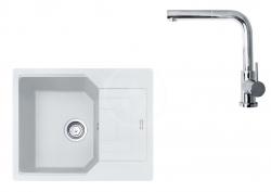 FRANKE - Sety Set G181, fragranitový dřez UBG 611-62 a baterie FN 0147.031, bílá-led/chrom (114.0619.655)