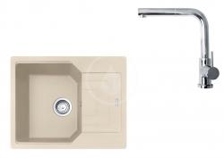 FRANKE - Sety Set G181, fragranitový dřez UBG 611-62 a baterie FN 0147.031, pískový melír/chrom (114.0619.657)