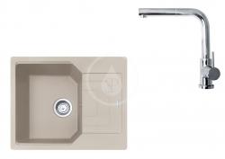 FRANKE - Sety Set G181, fragranitový dřez UBG 611-62 a baterie FN 0147.031, sahara/chrom (114.0619.658)
