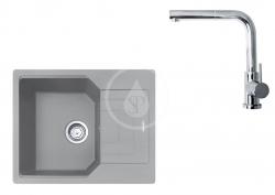 FRANKE - Sety Set G181, fragranitový dřez UBG 611-62 a baterie FN 0147.031, šedý kámen/chrom (114.0619.659)