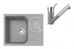 FRANKE - Sety Set G182, fragranitový dřez UBG 611-62 a baterie FG 7486.084, šedý kámen/šedý kámen (114.0619.668)