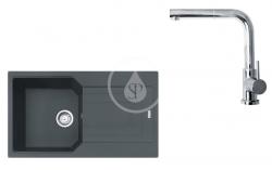 FRANKE - Sety Set G185, fragranitový dřez UBG 611-86 a baterie FN 0147.031, grafit/chrom (114.0619.689)