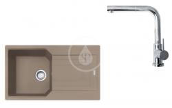 FRANKE - Sety Set G185, fragranitový dřez UBG 611-86 a baterie FN 0147.031, kašmír/chrom (114.0619.690)