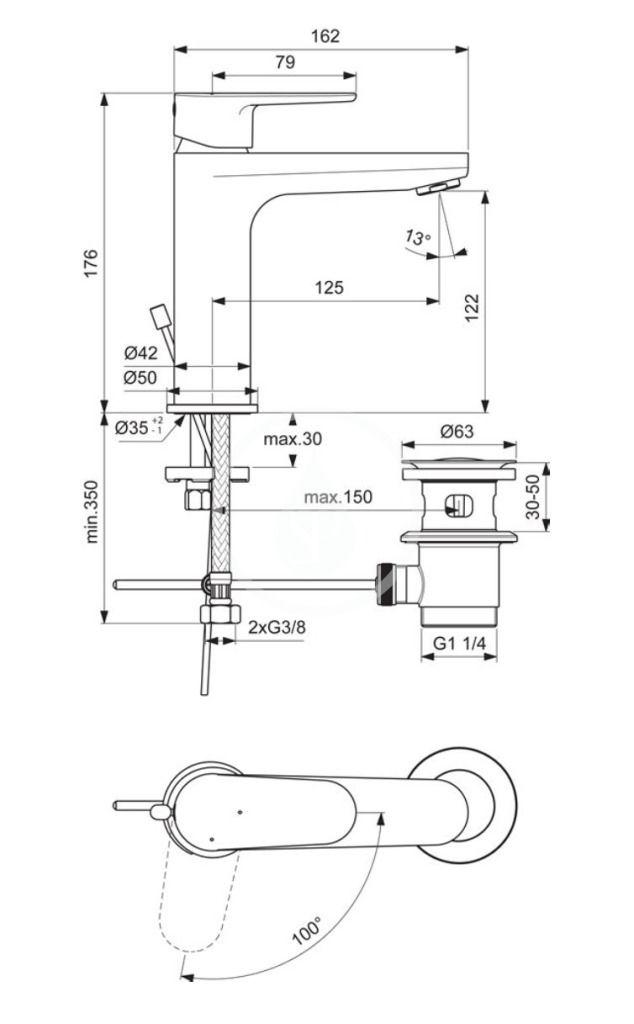 IDEAL STANDARD - Cerafine O Umyvadlová baterie s výpustí, BlueStart, chrom (BC702AA)