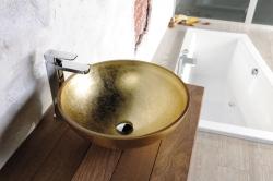 SAPHO - MURANO ORO skleněné umyvadlo kulaté 40x14 cm, zlatá (AL5318-51), fotografie 2/5