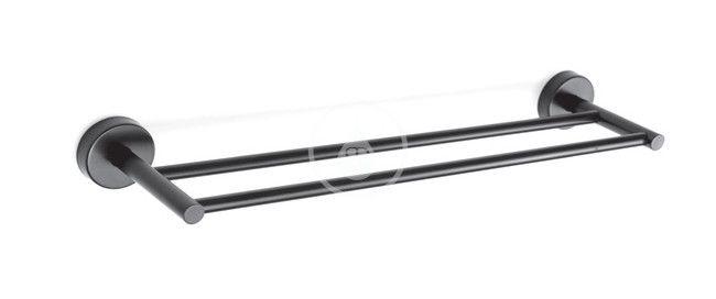 SANELA Nerezové doplňky Dvojitý držák ručníků, délka 500 mm, matná černá SLZD 10N