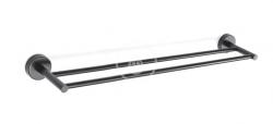 SANELA - Nerezové doplňky Nerezový dvojitý držák ručníků, délka 600 mm, matná černá (SLZD 11N)