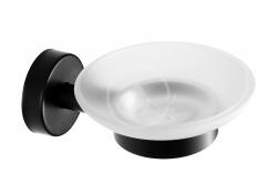 SANELA - Nerezové doplňky Mýdlenka s držákem, matné sklo/černá mat (SLZD 13N)