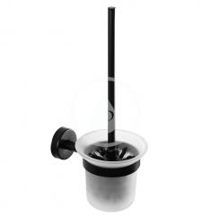 SANELA - Nerezové doplňky WC štětka nástěnná, matné sklo/matná černá (SLZD 24N)