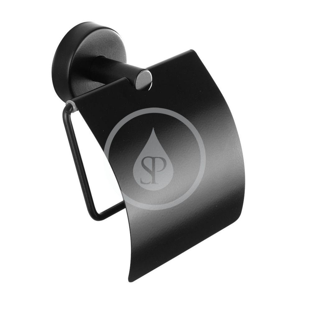 SANELA Nerezové doplňky Držák toaletního papíru, s krytem, matná černá SLZN 09N