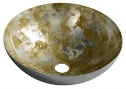 SAPHO - MURANO ANIMA skleněné umyvadlo kulaté 40x14 cm, stříbrná/béžovozlatá (AL5318-41)