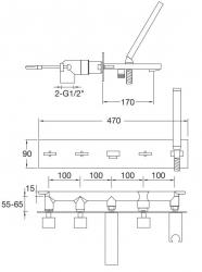 STEINBERG - Podomítková vanová baterie 5-otvorová včetně montážního tělesa, chrom II. jakost (160 2692), fotografie 20/10