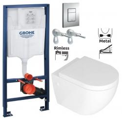 Rapid SL pro závěsné WC 38528SET s chromovou deskou + WC REA CARLO MINI RIMFLESS + SEDÁTKO (38772001 CM1)