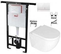 ALCAPLAST  Jádromodul - předstěnový instalační systém s bílým tlačítkem M1710 + WC REA CARLO MINI RIMFLESS + SEDÁTKO (AM102/1120 M1710 CM1)