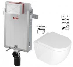 ALCAPLAST  Renovmodul - předstěnový instalační systém bez tlačítka + WC REA CARLO MINI RIMFLESS + SEDÁTKO (AM115/1000 X CM1)