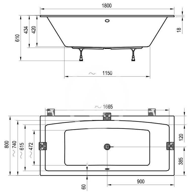 RAVAK - Formy 02 Slim Vestavná vana 1800x800 mm, bílá (C891300000)
