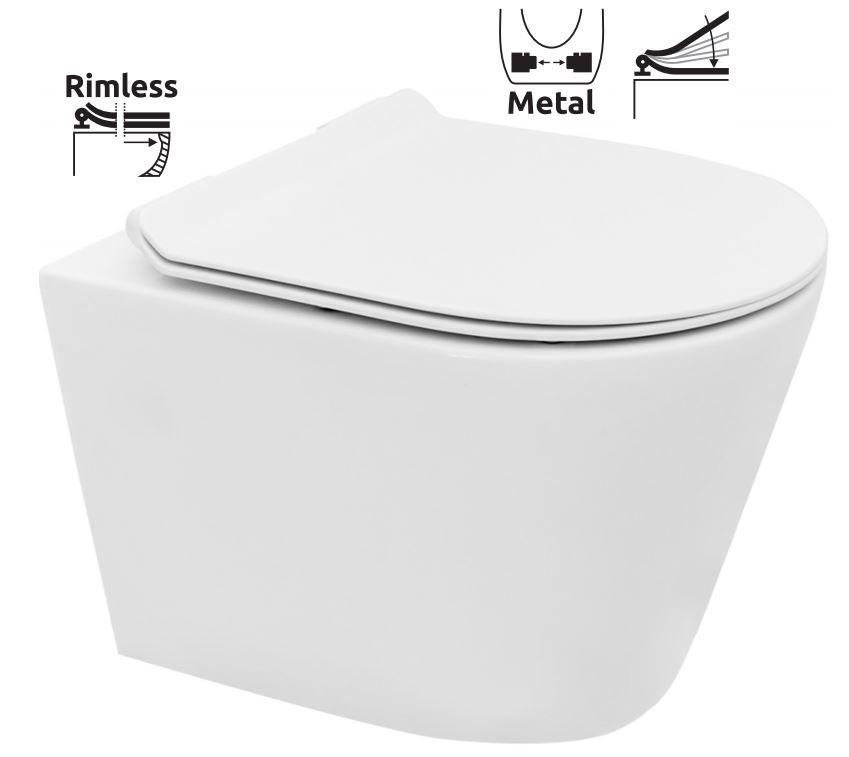 předstěnový instalační systém bez tlačítka + WC REA TOMAS RIMFLESS  + SEDÁTKO (H895652 X TO1)
