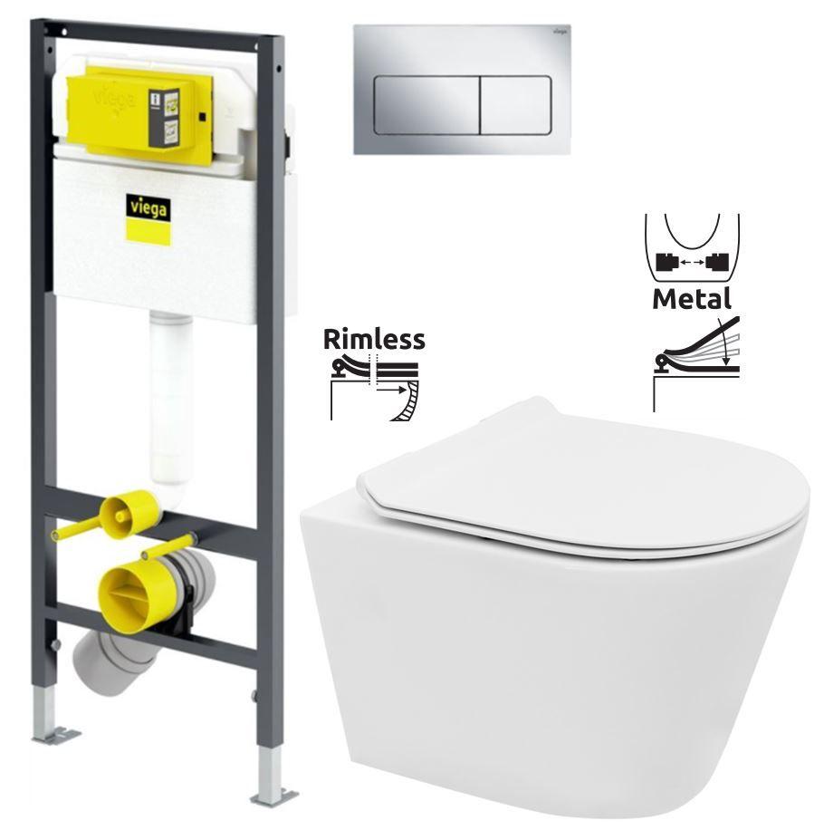 VIEGA Presvista modul DRY pro WC včetně tlačítka Life5 CHROM + WC REA TOMAS RIMFLESS + SEDÁTKO V7719