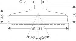 AXOR - Carlton Hlavová sprcha průměr 180 mm, chrom (28487000), fotografie 2/3