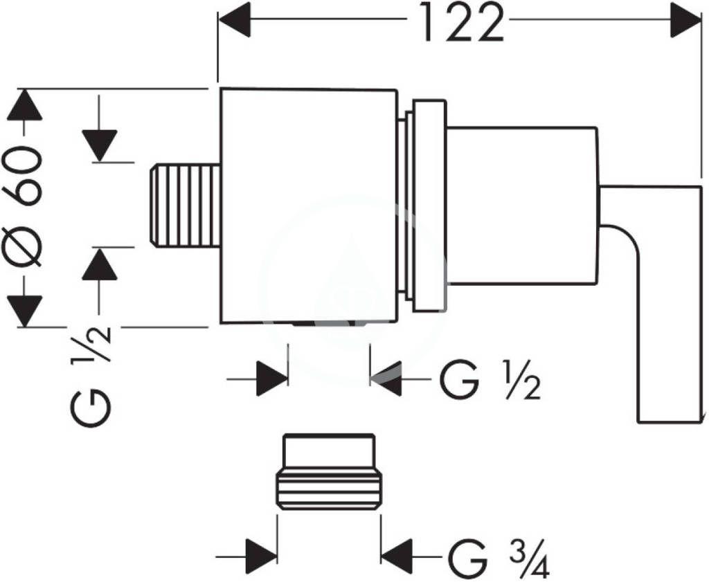 AXOR - Citterio Připojení hadice Fixfit Stop s uzavíracím ventilem s páčkou, chrom (39882000)