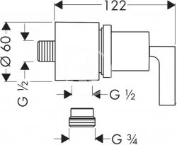 AXOR - Citterio Připojení hadice Fixfit Stop s uzavíracím ventilem s páčkou, chrom (39882000), fotografie 2/1