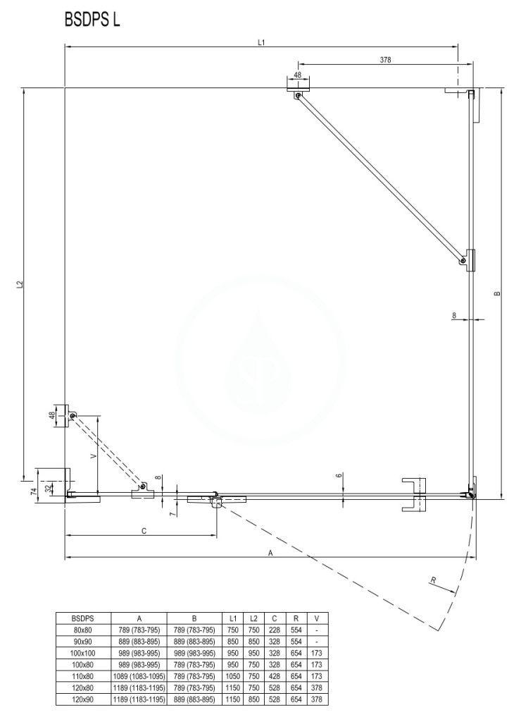 RAVAK - Brilliant Sprchový kout BSDPS-100/80 R, 983-995x783-795 mm, chrom/čiré sklo (0UPA4A00Z1)