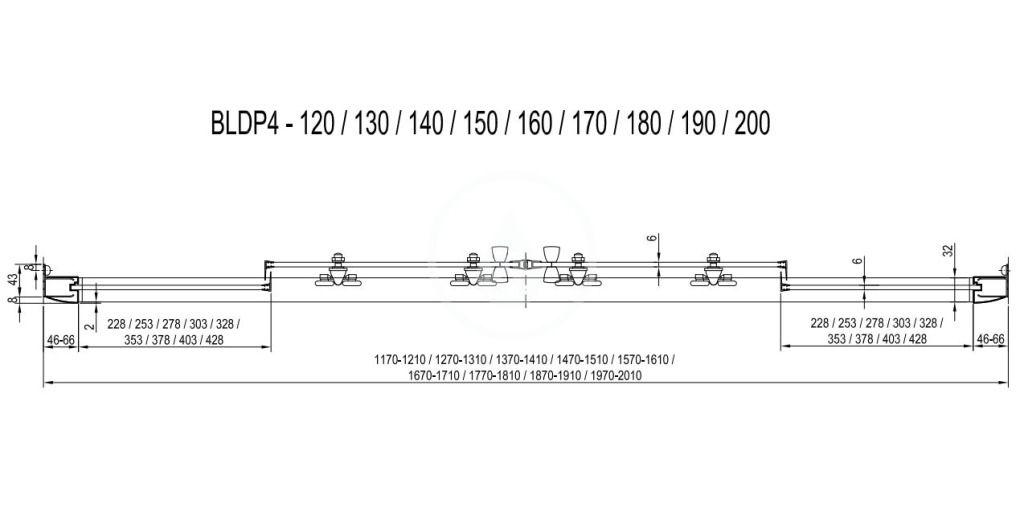 RAVAK - Blix Sprchové dveře čtyřdílné BLDP4-120, 1170-1210 mm, satin/čiré sklo (0YVG0U00Z1)