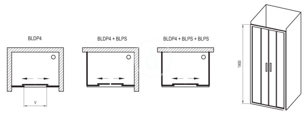 RAVAK - Blix Sprchové dveře čtyřdílné BLDP4-170, 1670-1710 mm, lesklý hliník/sklo Grape (0YVV0C00ZG)