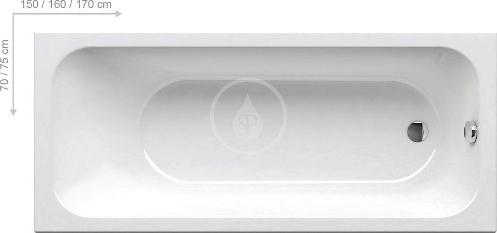 RAVAK - Chrome Slim Vana 1500x700 mm, bílá (C721300000)