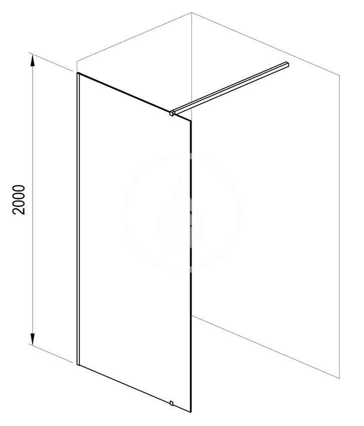RAVAK - Walk-In Sprchová stěna Walk-in Wall 150, 1500x2000 mm, černá/čiré sklo (GW9WP0300Z1)