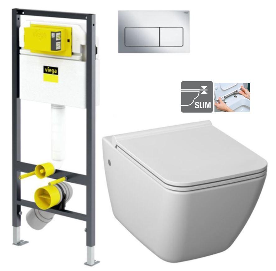 VIEGA Presvista modul DRY pro WC včetně tlačítka Life5 CHROM + WC JIKA PURE + SEDÁTKO DURAPLAST V771