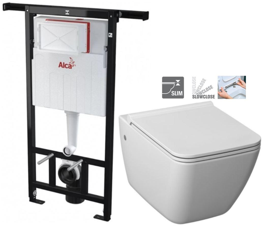 ALCAPLAST Jádromodul předstěnový instalační systém bez tlačítka + WC JIKA PURE + SEDÁTKO SLOWCLOSE AM102/1120 X PU2