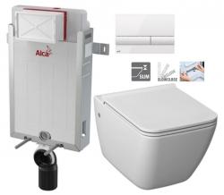 ALCAPLAST  Renovmodul - předstěnový instalační systém s bílým tlačítkem M1710 + WC JIKA PURE + SEDÁTKO SLOWCLOSE (AM115/1000 M1710 PU2)