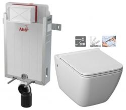 ALCAPLAST  Renovmodul - předstěnový instalační systém bez tlačítka + WC JIKA PURE + SEDÁTKO SLOWCLOSE (AM115/1000 X PU2)