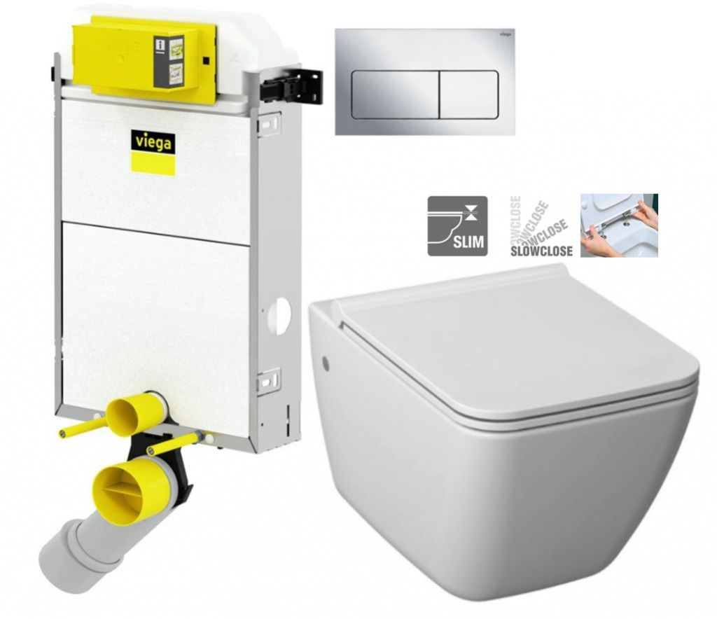VIEGA Presvista modul PURE pro WC včetně tlačítka Life5 CHROM + WC JIKA PURE + SEDÁTKO SLOWCLOSE V77