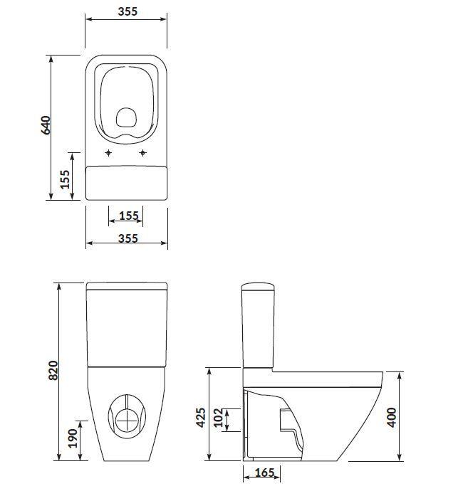 CERSANIT - WC KOMBI CREA CLEANON 011/020 ČTVEREC, NÁDRŽKA 011 3/5, SEDÁTKO DUR SLIM WO LW ONE (K114-022-S-SET)