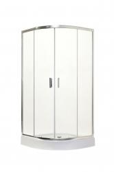 HOPA - Čtvrtkruhový sprchový kout s vaničkou BILBAO - Barva rámu zástěny - Hliník chrom, Rozměr A - 90 cm, Rozměr B - 90 cm, Směr zavírání - Univerzální Levé / Pravé, Výplň - Čiré bezpečnostní sklo - 5 mm (OLBBIL90CC)