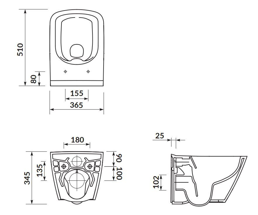 CERSANIT - SET B220 závěsná mísa CITY SQUARE CLEAN ON včetně dur. sedátka SLIM (S701-405)