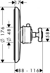 AXOR - Montreux Highflow termostatická baterie pod omítku, chrom (16815000), fotografie 2/2