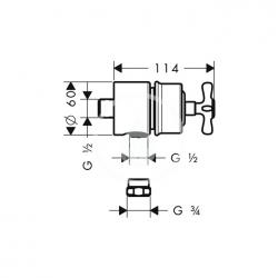 AXOR - Montreux Fixfit Stop, uzavírací ventil, chrom (16882000), fotografie 2/1