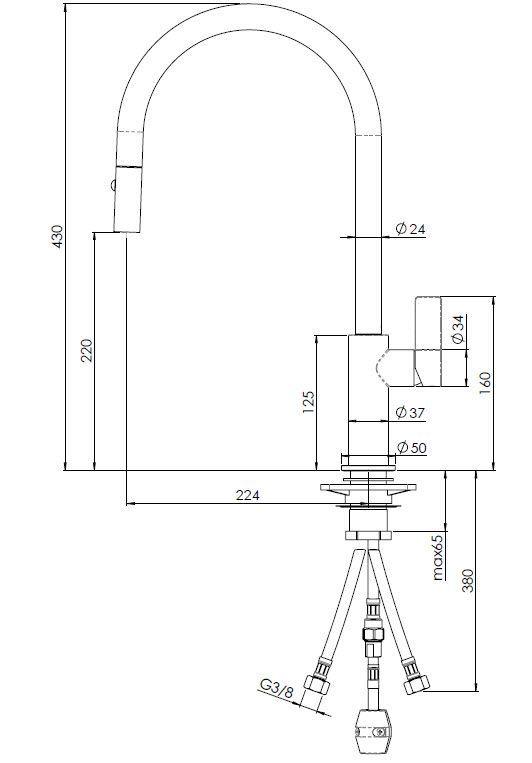 Reginox - Dřezová baterie JAPURA BLACK, odnímatelná sprcha (R31551)